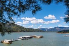 Woonboten bij pijler op Shasta-Meer door pijnbomen wordt ontworpen die royalty-vrije stock foto's