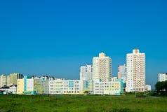 Woonbuurt op de rand van Minsk stock foto