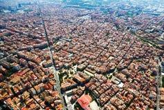 Woondistrict van helikopter Barcelona Stock Afbeelding