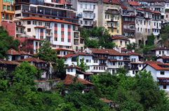 Woonhuizen op de Heuvel Stock Foto