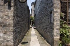 Woonhuizen, oude plattelandshuisjes en stegen in de oude stad van Nanjing, Nanjing stock afbeelding