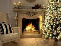 Woonkamer bij Kersttijd het 3d teruggeven Stock Afbeelding