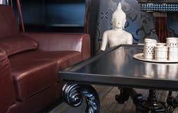 Woonkamer, binnenland, meubilair Royalty-vrije Stock Afbeeldingen