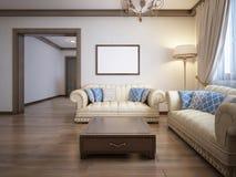 Woonkamer in een rustieke stijl met zacht meubilair en groot FI stock illustratie
