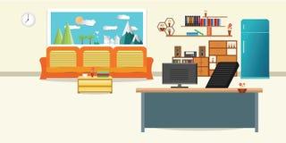 Woonkamer en bureau ontspant het binnenlandse vlakke ontwerp met oranje bank en Computerlijst - zit cl van de het vensterhemel va stock illustratie