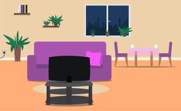 Woonkamer en eetkamer binnenlandse ruimte met meubilair Vector illustratie royalty-vrije illustratie
