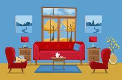 Woonkamer in gele rode blauwe kleuren Rode bank met lijst, nightstand, schilderijen, lampen, vaas, tapijt, porseleinreeks, zachte royalty-vrije illustratie