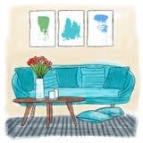 Woonkamer het gekleurde schilderen Royalty-vrije Stock Afbeelding