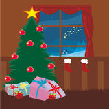 Woonkamer in Kerstmistijd Stock Fotografie