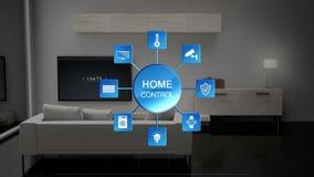 Woonkamer lichte energie - de controle van de besparingsefficiency, Slimme huiscontrole, Internet van dingen vector illustratie
