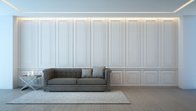 Woonkamer met bank in luxehuis, Uitstekend binnenlands ontwerp Stock Fotografie