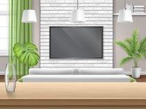 Woonkamer met banktv en houten barlijst Royalty-vrije Stock Afbeelding