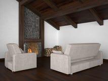 Woonkamer met dakstraal en open haard Stock Afbeelding