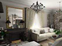 Woonkamer met het klassieke meubilair stock illustratie