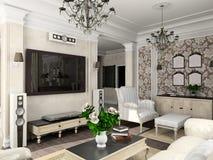 Woonkamer met het klassieke meubilair vector illustratie
