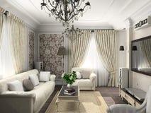 Woonkamer met het klassieke meubilair