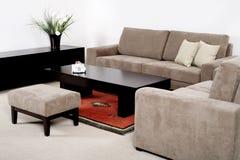 Woonkamer met het moderne meubilair Stock Afbeeldingen