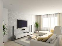 Woonkamer met het moderne meubilair stock illustratie