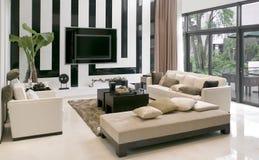 Woonkamer met het moderne meubilair Royalty-vrije Stock Afbeeldingen
