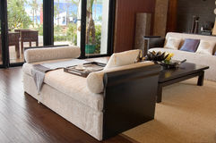 Woonkamer met het moderne meubilair Stock Afbeelding