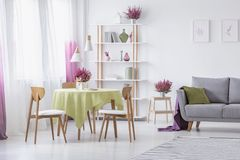 Woonkamer met houten stoelen, rondetafel met olijf groen tafelkleed, grijze laag met hoofdkussen en heide in potten royalty-vrije stock foto's
