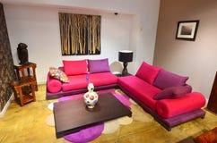 Woonkamer met kleurrijke comfortabele laag stock afbeelding