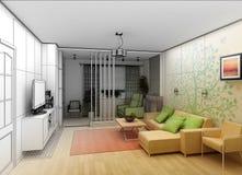 Woonkamer met Landschapsmening, 3D Binnenland Royalty-vrije Stock Foto