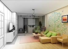 Woonkamer met Landschapsmening, 3D Binnenland Stock Foto
