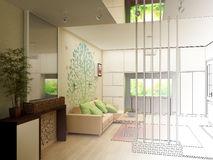 Woonkamer met Landschapsmening, 3D Binnenland Stock Foto's