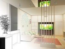 Woonkamer met Landschapsmening, 3D Binnenland Royalty-vrije Stock Foto's