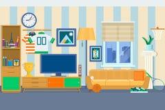 Woonkamer met meubilair Comfortabel binnenland met bank en TV Van de het Ontwerp Vlakke stijl van de huis de Moderne Flat Vectori vector illustratie