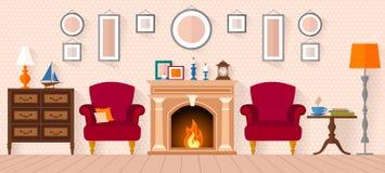 Woonkamer met meubilair en een open haard Stock Foto's