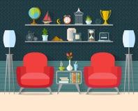 Woonkamer met meubilair in Vlakke stijl Stock Fotografie