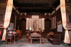 Woonkamer van een oud Chinees huis Stock Afbeeldingen