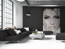 Woonkamer van een penthouse het 3d teruggeven Stock Afbeeldingen