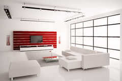 Woonkamer in witte rode binnenlandse 3d Royalty-vrije Stock Afbeelding