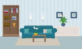 Woonkamerbinnenland met meubilair Royalty-vrije Stock Afbeelding