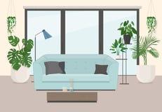 Woonkamerbinnenland met meubilair, panoramisch venster en orname Royalty-vrije Stock Foto's