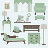 Woonkamermeubilair en toebehoren in kleurenthee Vector Illustratie