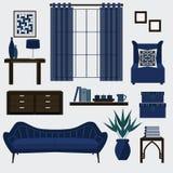 Woonkamermeubilair en toebehoren in marineblauwe kleur Stock Illustratie