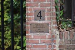 Woonplaats van de ambassadeur van Zuiden Africain de stad van Den Haag waar alle diplomaten in Nederland werken royalty-vrije stock foto's