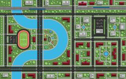 Woonwijk met een park, stadion, rivier, spoorweg Mening voor Royalty-vrije Stock Fotografie