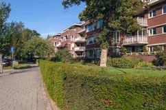 Woonwijk met tuinen en stegen stock afbeeldingen