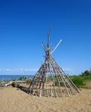 Woooden-Hütte auf dem adriatischen Meer Lizenzfreies Stockfoto