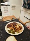Wooow amazing hungry, pork potatoes bacon stock image