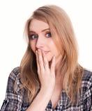 Woops della giovane donna o gesto di sorpresa Fotografie Stock Libere da Diritti