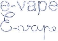 Woord e -e-vape in blauwe rook Stock Fotografie