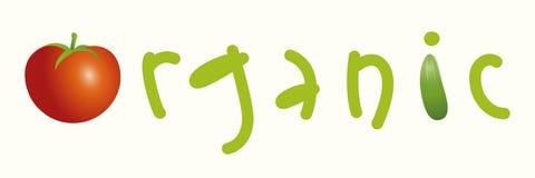 woord organisch met brieven, groententomaat en komkommer Natuurvoedingembleem en concept Stock Afbeelding