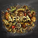 Woord van Afrika van beeldverhaal het leuke krabbels royalty-vrije illustratie