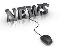 Woord van het nieuws en een muis verbonden met het Stock Foto's